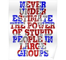 Never Underestimate the Power of Stupid People in Large Groups - Union Jack Poster
