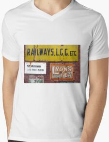 Advertising metal adverts looking aged, they are prints from them Mens V-Neck T-Shirt