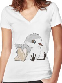 Piper - Baby Sandpiper with Shells Women's Fitted V-Neck T-Shirt
