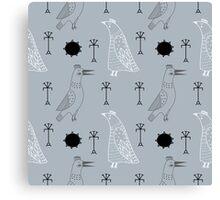 Hipster birds couple Canvas Print