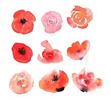 Flowers watercolor illustration Photographic Print