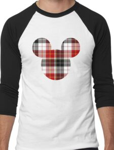 Mouse Checkered Patterned Silhouette Men's Baseball ¾ T-Shirt