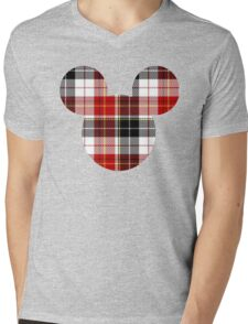 Mouse Checkered Patterned Silhouette Mens V-Neck T-Shirt