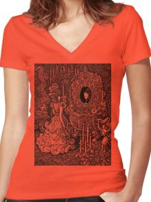 Wealthy Woman Looking in Mirror Women's Fitted V-Neck T-Shirt