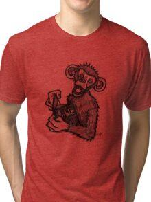 Monkey Laughing At Bible Tri-blend T-Shirt