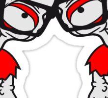2 nerds team party crew paar geek streber freak hornbrille pickel spange zombie lustig gesicht kopf untot horror monster halloween  Sticker