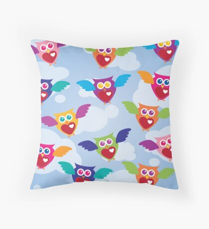 A Flock of Colorful Owls Throw Pillow