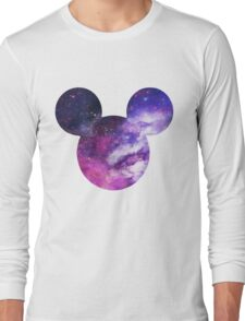 Mouse Galaxy Patterned Silhouette Long Sleeve T-Shirt