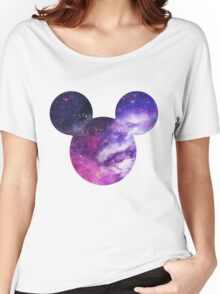 Mouse Galaxy Patterned Silhouette Women's Relaxed Fit T-Shirt
