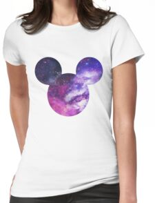 Mouse Galaxy Patterned Silhouette Womens Fitted T-Shirt