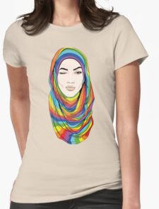 Rainbow Hijab Womens Fitted T-Shirt