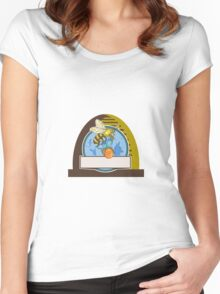 Bee Carrying Honey Pot Skep Circle Drawing Women's Fitted Scoop T-Shirt
