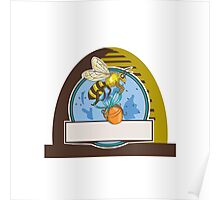 Bee Carrying Honey Pot Skep Circle Drawing Poster