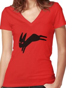 Black Rabbit Women's Fitted V-Neck T-Shirt