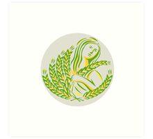 Demeter Harvest Wheat Grain Circle Retro Art Print
