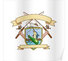 Fishing Rod Reel Hooking Blue Marlin Ribbon Coat of Arms Drawing Poster