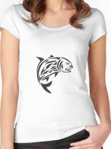 Giant Trevally Jumping Tribal Art Women's Fitted Scoop T-Shirt