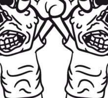 2 freunde team party zombies böse ekelig monster horror halloween zombie design  Sticker