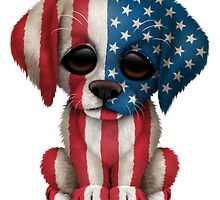 Cute Patriotic American Flag Puppy Dog by Jeff Bartels