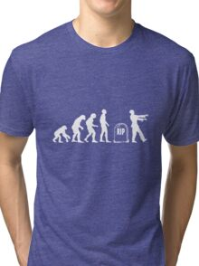Scary and Funny zombie Evolution walking Tri-blend T-Shirt