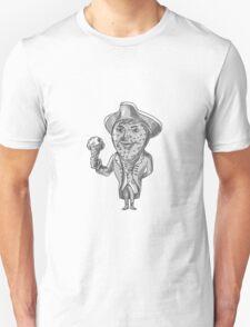 Strawberry Tricorn Hat Ice Cream Black and White Drawing Unisex T-Shirt