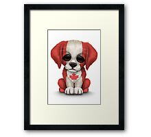 Cute Patriotic Canadian Flag Puppy Dog Framed Print