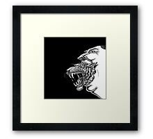 Angry Man with Tiger Coming from Mouth Framed Print