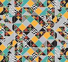 Colorful Geometric Primitive Pattern by Jeri Stunkard