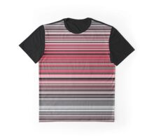 Vibrant red and monochrome horizontal linework Graphic T-Shirt