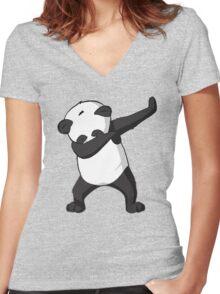 -DAB- Panda DAB Women's Fitted V-Neck T-Shirt