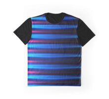 Neon blue and pink horizontal lines abstract linework Graphic T-Shirt