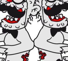 2 freunde team paar sir herren zylinder stock fliege anzug hut mustache schnurrbart alter mann zombie ekelig horror halloween comic cartoon  Sticker