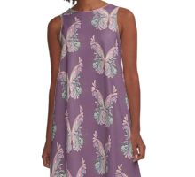 Colorful Ornately Designed Butterfly Graphic with flourishes A-Line Dress