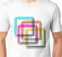 Colorful 3D impossible shapes overlapping Unisex T-Shirt