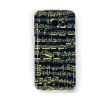 Bright yellow sheet music on deep blue background Samsung Galaxy Case/Skin
