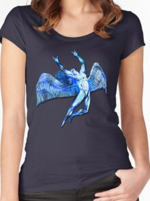 ICARUS THROWS THE HORNS - bright blue Women's Fitted Scoop T-Shirt