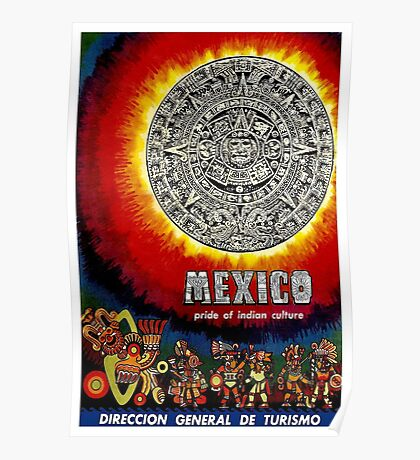 """AZTEC CALENDAR"" Travel to Mexico Print Poster"