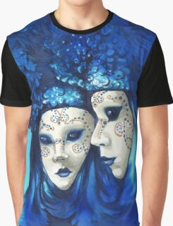 Blue and White Masks Graphic T-Shirt