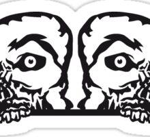 2 freunde team paar mauer wand gucken klettern schild rahmen umrandung zombie gesicht kopf untot horror monster halloween  Sticker