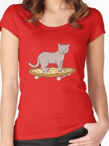 Cat on Pizza Skateboard  Women's Fitted Scoop T-Shirt