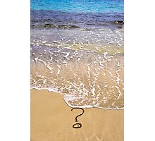question mark sign in sand beach Photographic Print
