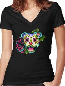 Smiling Pit Bull in White - Day of the Dead Happy Pitbull - Sugar Skull Dog Women's Fitted V-Neck T-Shirt