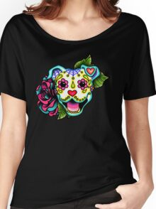 Smiling Pit Bull in White - Day of the Dead Happy Pitbull - Sugar Skull Dog Women's Relaxed Fit T-Shirt