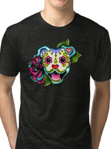 Smiling Pit Bull in White - Day of the Dead Happy Pitbull - Sugar Skull Dog Tri-blend T-Shirt