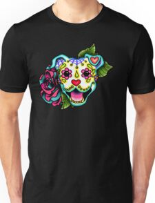 Smiling Pit Bull in White - Day of the Dead Happy Pitbull - Sugar Skull Dog Unisex T-Shirt