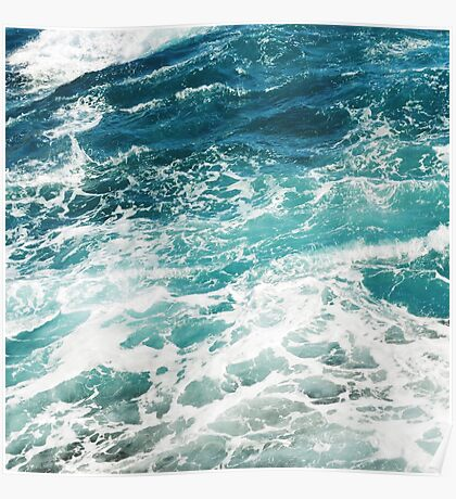 Blue Ocean Waves  Poster
