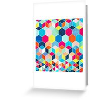 Super Bright Color Fun Hexagon Pattern Greeting Card