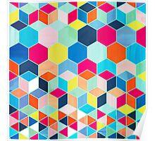 Super Bright Color Fun Hexagon Pattern Poster