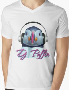 D J Puffin Mens V-Neck T-Shirt