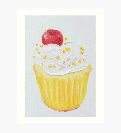 Vanilla cupcake with frosting and sprinkles Art Print